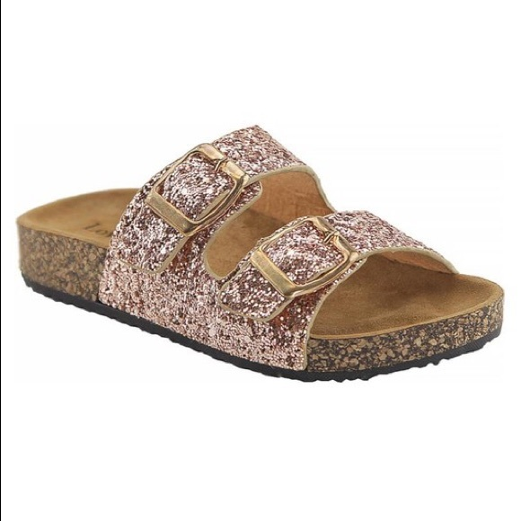 631ac610f Girls Rose Gold Glitter Sandals- FIRM